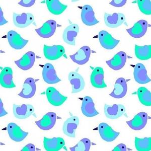 Ткань на отрез фланель 90 см 95032 Птички цвет голубой