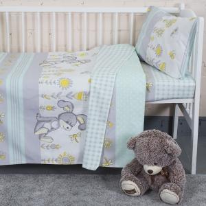 Постельное белье в детскую кроватку из бязи 8069/2 Кролик мята