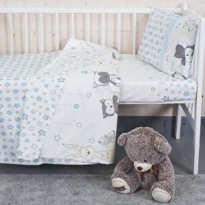 Постельное белье в детскую кроватку из бязи 8086/2 Лесные друзья бирюза