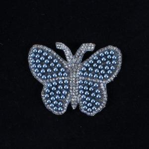 Термоаппликация ТАС 147 бабочка голубая 7,5см