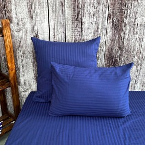 Наволочка страйп-сатин полоса 1х1 120 гр/м2 191/2 цвет синий в упаковке 2 шт 70/70