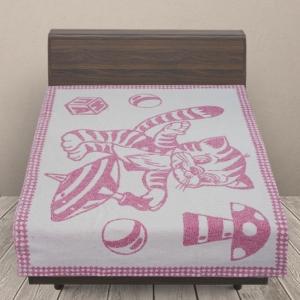 Одеяло детское байковое жаккардовое 100/140 см коты цвет розовый