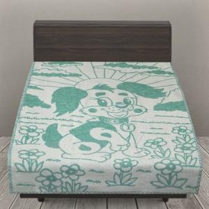 Одеяло детское байковое жаккардовое 100/140 см щенки цвет зеленый