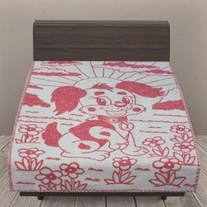 Одеяло детское байковое жаккардовое 100/140 см щенки цвет красный