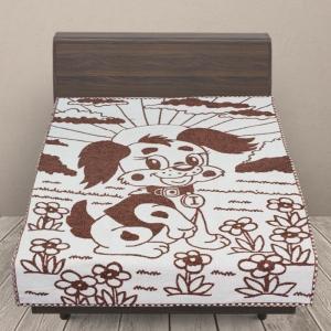 Одеяло детское байковое жаккардовое 100/140 см щенки цвет коричневый