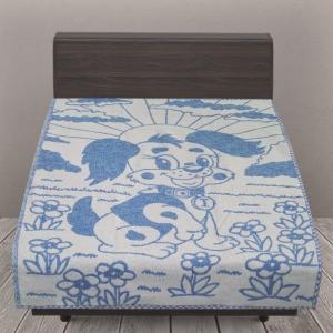 Одеяло детское байковое жаккардовое 100/140 см щенки цвет синий