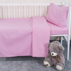 Постельное белье в детскую кроватку из бязи цвет розовый