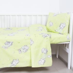 Постельное белье в детскую кроватку из бязи 1285/3 Мамонтенок зеленый