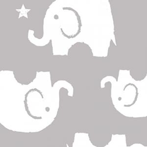 Ткань на отрез интерлок 40/1 Гребенное Слоники серые 28-18