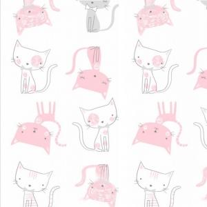 Ткань на отрез интерлок 40/1 Гребенное Кошки розовые 5736-17