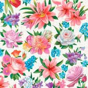 Полотно вафельное 50 см набивное арт 60 Тейково рис 5574 вид 1 Вальс цветов