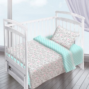 Постельное белье в детскую кроватку из перкаля 13178/1+13165/1