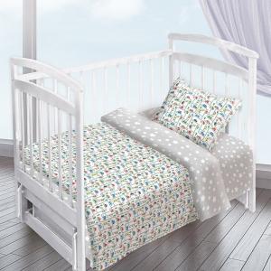 Постельное белье в детскую кроватку из перкаля 13180/1+13165/4