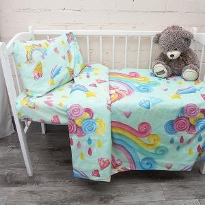 Постельное белье в детскую кроватку из перкаля 13078/1+13079/1 с простыней на резинке 160/80/15