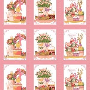 Вафельное полотно набивное 150 см 3021-2 Светлая пасха цвет розовый