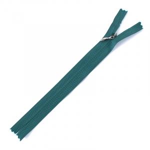 Молния потайная 20см х/б  D295 темно зеленый серебр.пулер