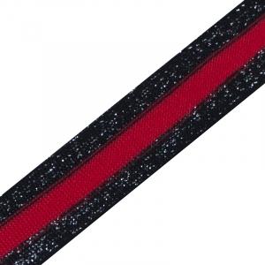 Лампасы №15 черная красная черная с люрексом 2,5 см 1 метр