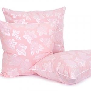 Подушка Лебяжий пух 40/60 Розы цвет розовый