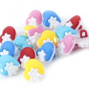 Пуговица детская сборная Сердце с цветком 15 мм цвет голубой упаковка 24 шт