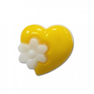 Пуговица детская сборная Сердце с цветком 15 мм цвет св-желтый упаковка 24 шт