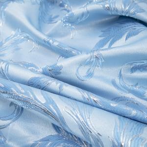 Портьерная ткань с люрексом 150 см на отрез Х7187 цвет 3 голубой вензель