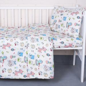 Постельное белье в детскую кроватку из поплина 1822/1  с простыней на резинке