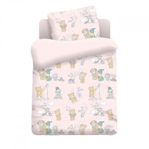 Постельное белье в детскую кроватку из перкаля 13042/2 Тедди  с простыней на резинке